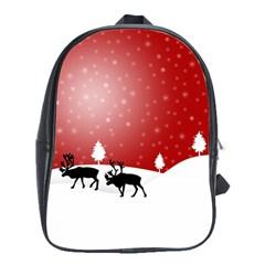 Reindeer In Snow School Bags(Large)