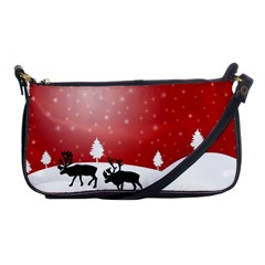 Reindeer In Snow Shoulder Clutch Bags