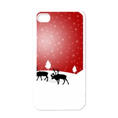 Reindeer In Snow Apple iPhone 4 Case (White)
