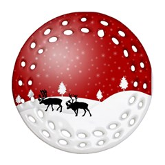 Reindeer In Snow Ornament (Round Filigree)