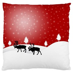 Reindeer In Snow Large Cushion Case (Two Sides)