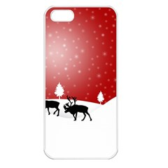 Reindeer In Snow Apple iPhone 5 Seamless Case (White)