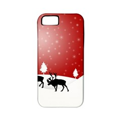 Reindeer In Snow Apple Iphone 5 Classic Hardshell Case (pc+silicone)