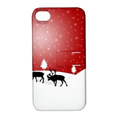 Reindeer In Snow Apple iPhone 4/4S Hardshell Case with Stand