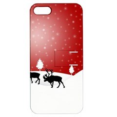 Reindeer In Snow Apple iPhone 5 Hardshell Case with Stand