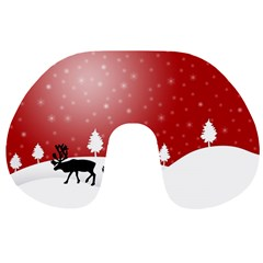 Reindeer In Snow Travel Neck Pillows