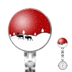 Reindeer In Snow Stainless Steel Nurses Watch