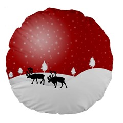 Reindeer In Snow Large 18  Premium Flano Round Cushions
