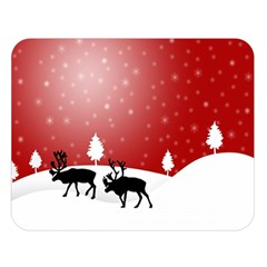 Reindeer In Snow Double Sided Flano Blanket (Large)