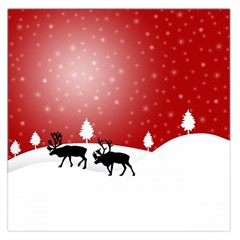 Reindeer In Snow Large Satin Scarf (Square)