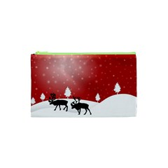 Reindeer In Snow Cosmetic Bag (XS)