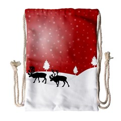 Reindeer In Snow Drawstring Bag (Large)