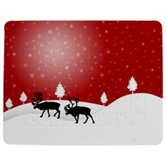 Reindeer In Snow Jigsaw Puzzle Photo Stand (rectangular)