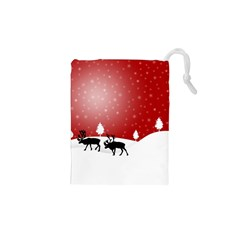 Reindeer In Snow Drawstring Pouches (XS)