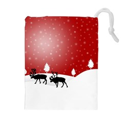 Reindeer In Snow Drawstring Pouches (Extra Large)