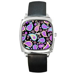 Paisley Pattern Background Colorful Square Metal Watch