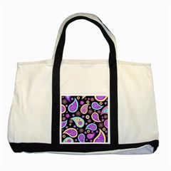 Paisley Pattern Background Colorful Two Tone Tote Bag