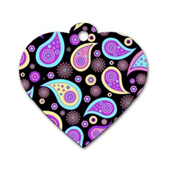 Paisley Pattern Background Colorful Dog Tag Heart (One Side)