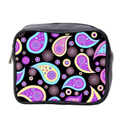 Paisley Pattern Background Colorful Mini Toiletries Bag 2 Side