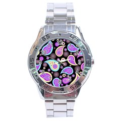 Paisley Pattern Background Colorful Stainless Steel Analogue Watch
