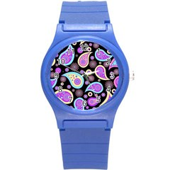 Paisley Pattern Background Colorful Round Plastic Sport Watch (s)