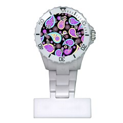 Paisley Pattern Background Colorful Plastic Nurses Watch