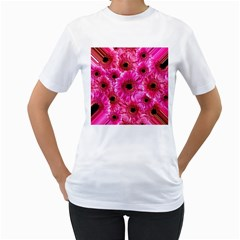Gerbera Flower Nature Pink Blosso Women s T Shirt (white) (two Sided)