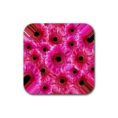 Gerbera Flower Nature Pink Blosso Rubber Coaster (square)