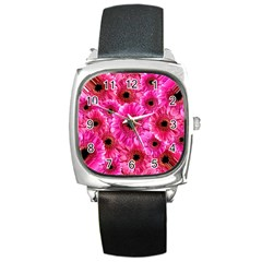 Gerbera Flower Nature Pink Blosso Square Metal Watch