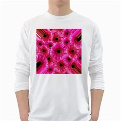 Gerbera Flower Nature Pink Blosso White Long Sleeve T-Shirts