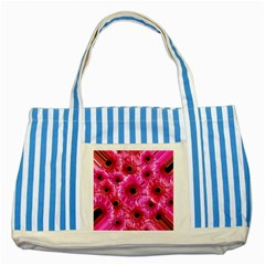 Gerbera Flower Nature Pink Blosso Striped Blue Tote Bag