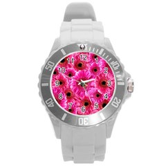 Gerbera Flower Nature Pink Blosso Round Plastic Sport Watch (L)