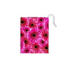 Gerbera Flower Nature Pink Blosso Drawstring Pouches (XS)