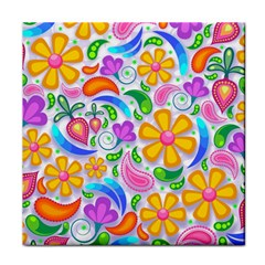 Floral Paisley Background Flower Tile Coasters