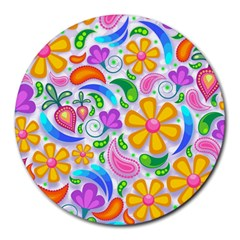 Floral Paisley Background Flower Round Mousepads