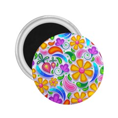 Floral Paisley Background Flower 2.25  Magnets