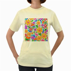Floral Paisley Background Flower Women s Yellow T-Shirt