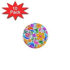 Floral Paisley Background Flower 1  Mini Buttons (10 pack)