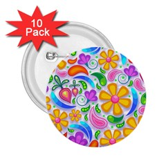 Floral Paisley Background Flower 2.25  Buttons (10 pack)