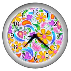 Floral Paisley Background Flower Wall Clocks (Silver)