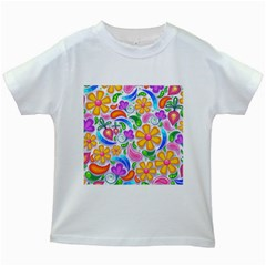 Floral Paisley Background Flower Kids White T Shirts