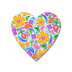 Floral Paisley Background Flower Heart Magnet