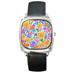 Floral Paisley Background Flower Square Metal Watch
