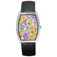 Floral Paisley Background Flower Barrel Style Metal Watch