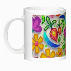 Floral Paisley Background Flower Night Luminous Mugs