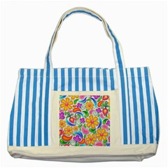 Floral Paisley Background Flower Striped Blue Tote Bag