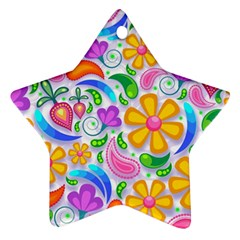 Floral Paisley Background Flower Star Ornament (Two Sides)