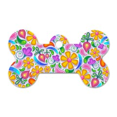 Floral Paisley Background Flower Dog Tag Bone (Two Sides)