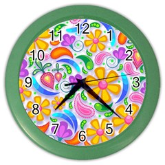 Floral Paisley Background Flower Color Wall Clocks