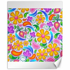 Floral Paisley Background Flower Canvas 11  X 14